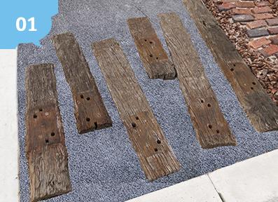枕木や木目調の素材にも良く合う!